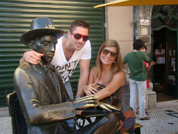 Barbara e o namorado em Portugal